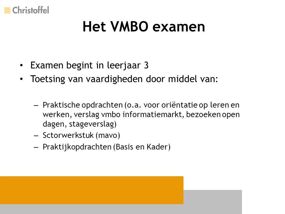 Het VMBO examen Examen begint in leerjaar 3