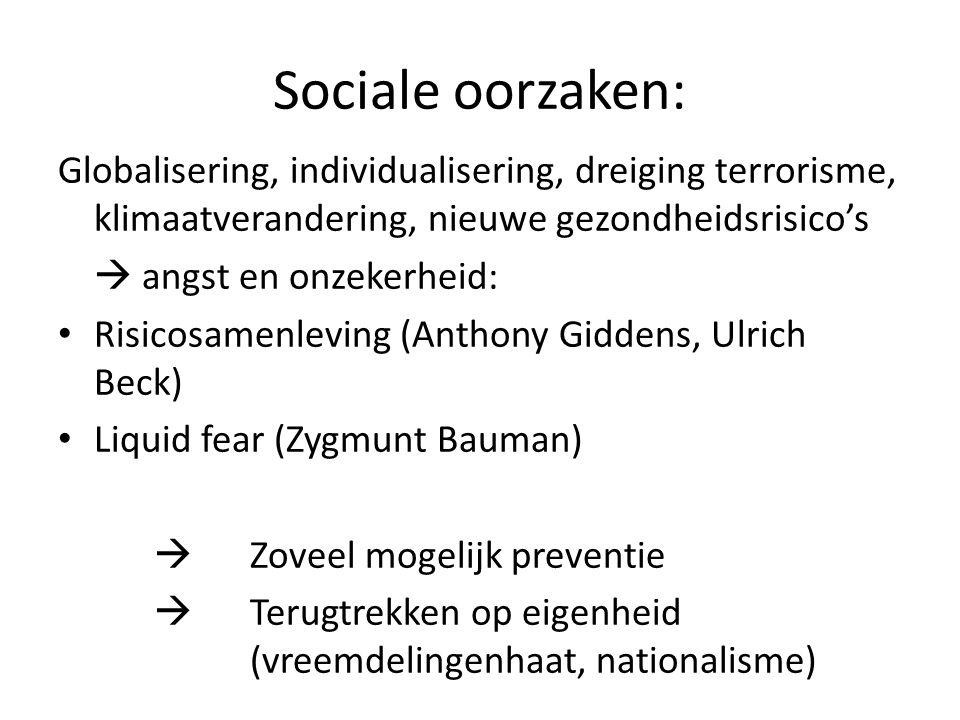 Sociale oorzaken: Globalisering, individualisering, dreiging terrorisme, klimaatverandering, nieuwe gezondheidsrisico's.