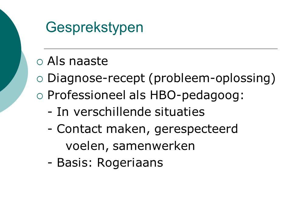 Gesprekstypen Als naaste Diagnose-recept (probleem-oplossing)