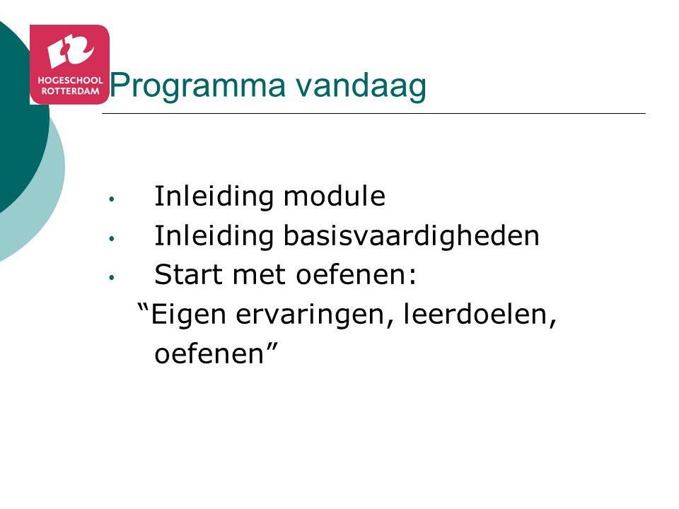 Programma vandaag Inleiding module Inleiding basisvaardigheden