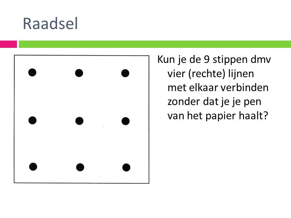 Raadsel Kun je de 9 stippen dmv vier (rechte) lijnen met elkaar verbinden zonder dat je je pen van het papier haalt