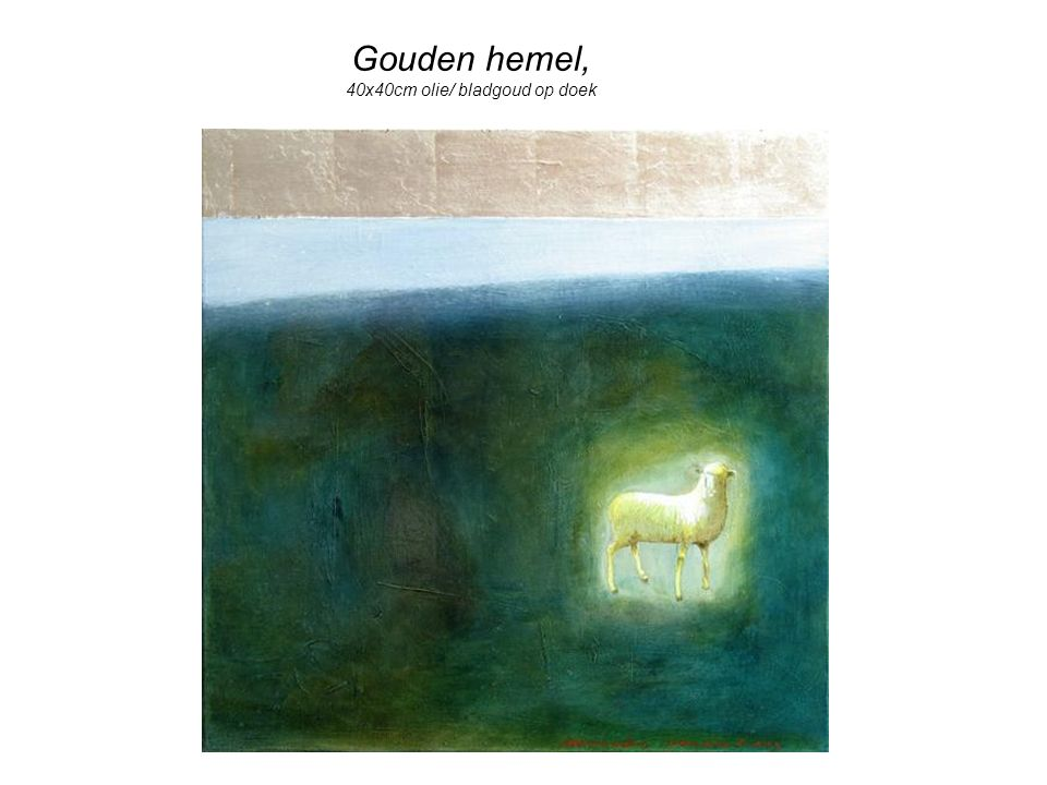 Gouden hemel, 40x40cm olie/ bladgoud op doek