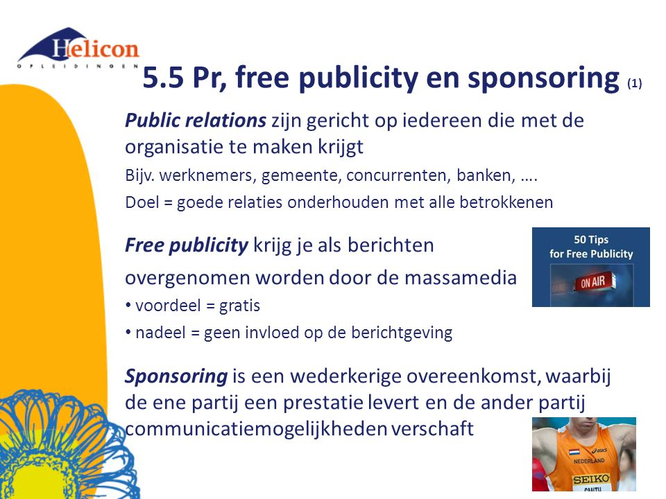 5.5 Pr, free publicity en sponsoring (1)