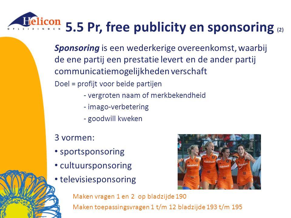 5.5 Pr, free publicity en sponsoring (2)