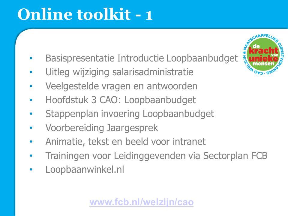 Online toolkit - 1 Basispresentatie Introductie Loopbaanbudget