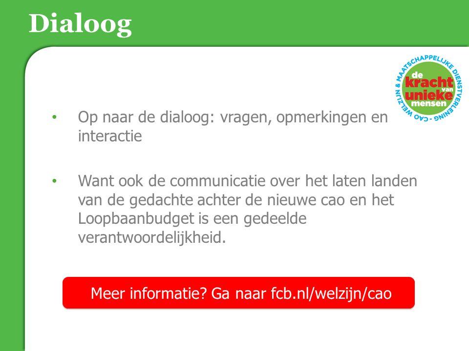 Dialoog Op naar de dialoog: vragen, opmerkingen en interactie