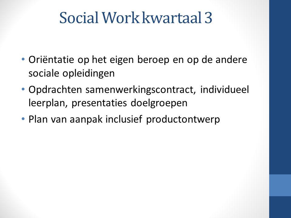 Social Work kwartaal 3 Oriëntatie op het eigen beroep en op de andere sociale opleidingen.