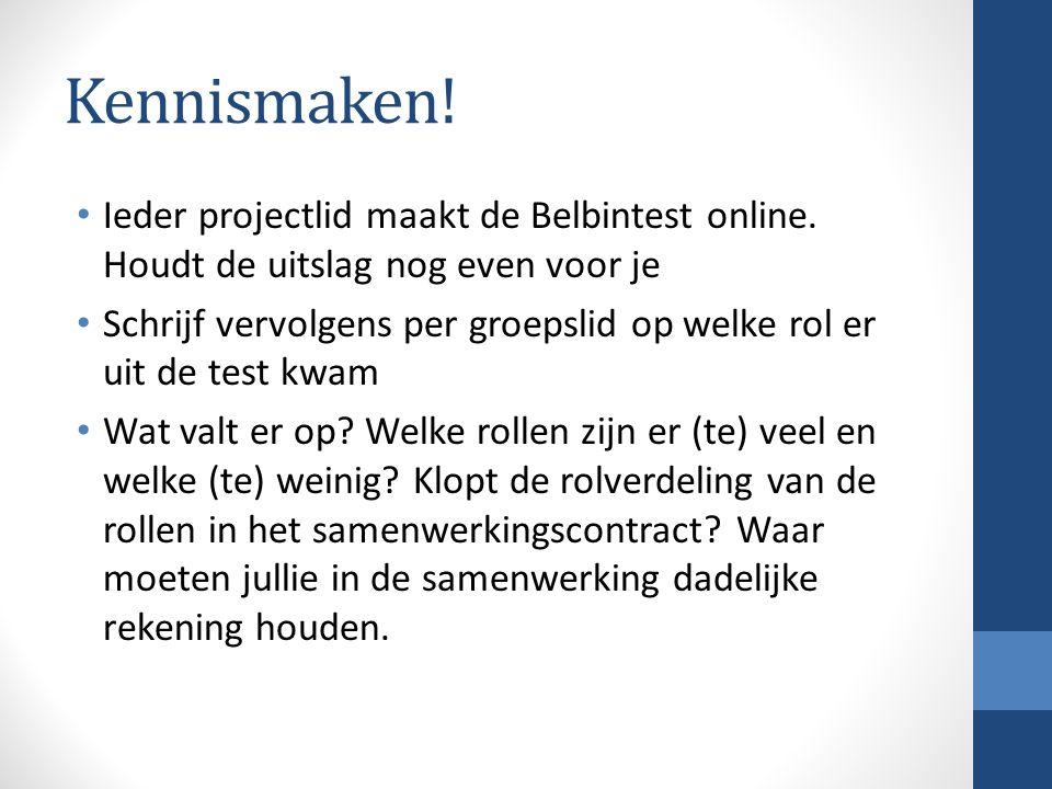 Kennismaken! Ieder projectlid maakt de Belbintest online. Houdt de uitslag nog even voor je.