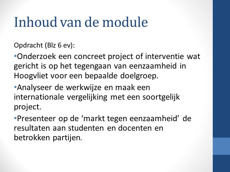 Inhoud van de module Opdracht (Blz 6 ev):