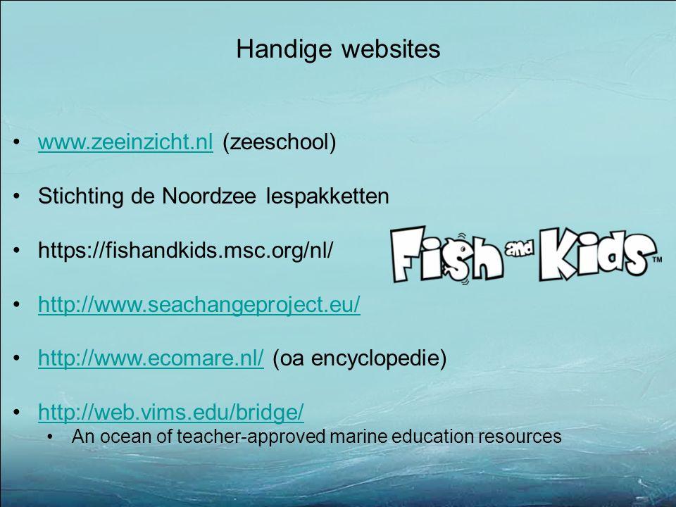 Handige websites www.zeeinzicht.nl (zeeschool)