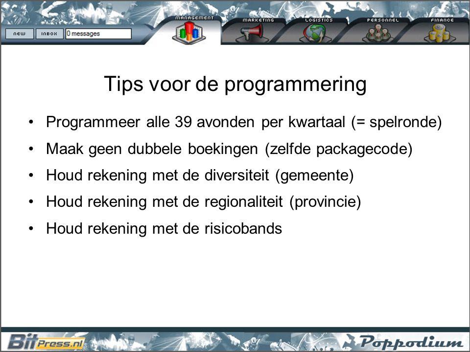 Tips voor de programmering