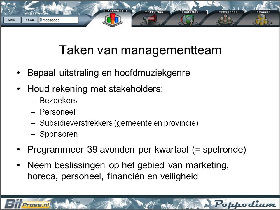 Taken van managementteam