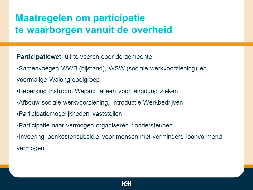 Maatregelen om participatie te waarborgen vanuit de overheid