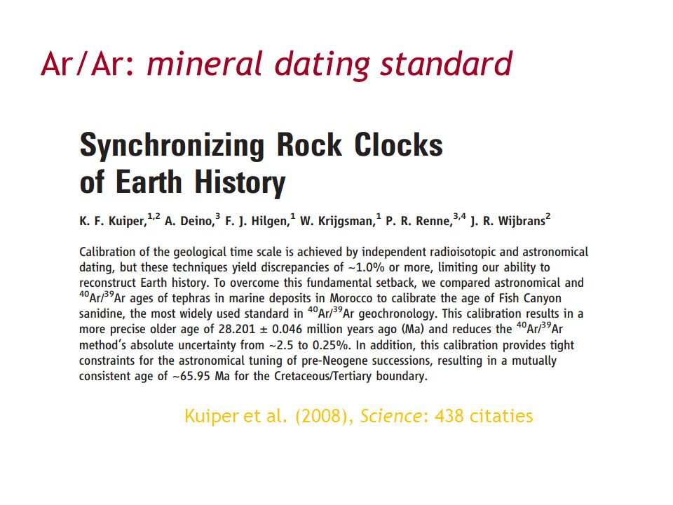 Ar/Ar: mineral dating standard