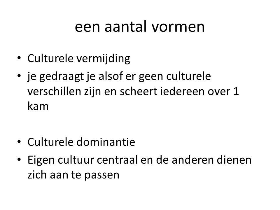een aantal vormen Culturele vermijding