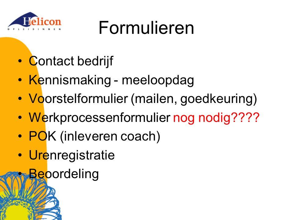 Formulieren Contact bedrijf Kennismaking - meeloopdag