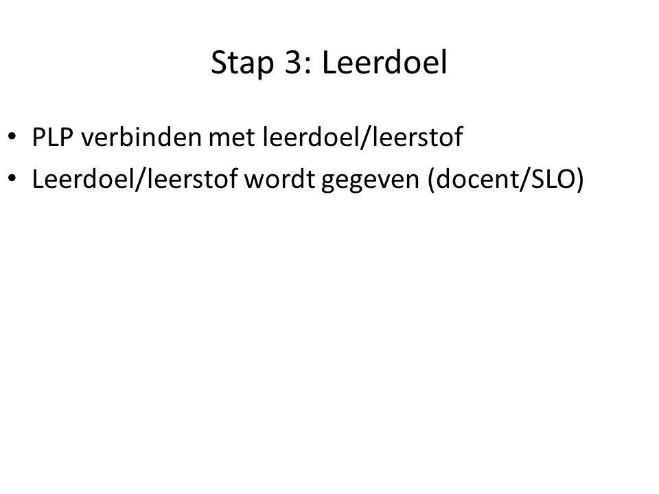 Stap 3: Leerdoel PLP verbinden met leerdoel/leerstof