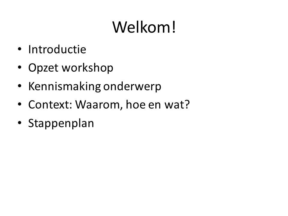 Welkom! Introductie Opzet workshop Kennismaking onderwerp