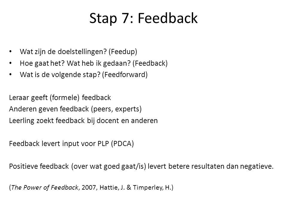 Stap 7: Feedback Wat zijn de doelstellingen (Feedup)