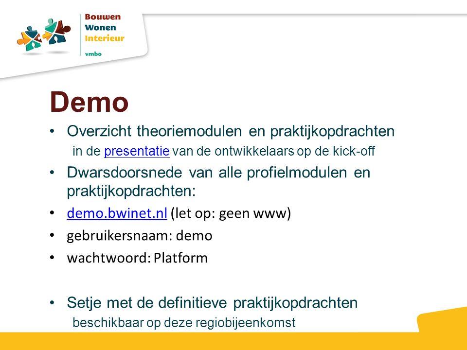 Demo Overzicht theoriemodulen en praktijkopdrachten