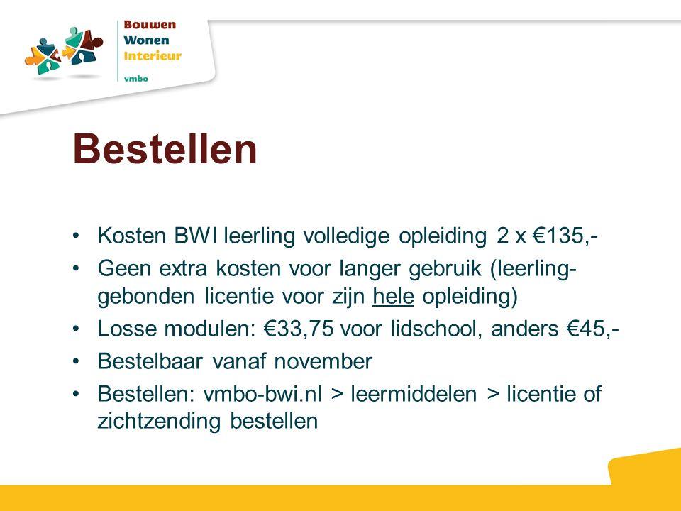 Bestellen Kosten BWI leerling volledige opleiding 2 x €135,-