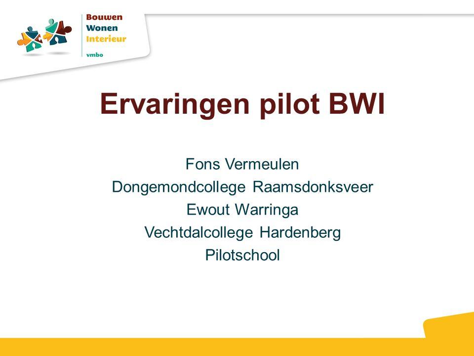 Ervaringen pilot BWI Fons Vermeulen Dongemondcollege Raamsdonksveer Ewout Warringa Vechtdalcollege Hardenberg Pilotschool