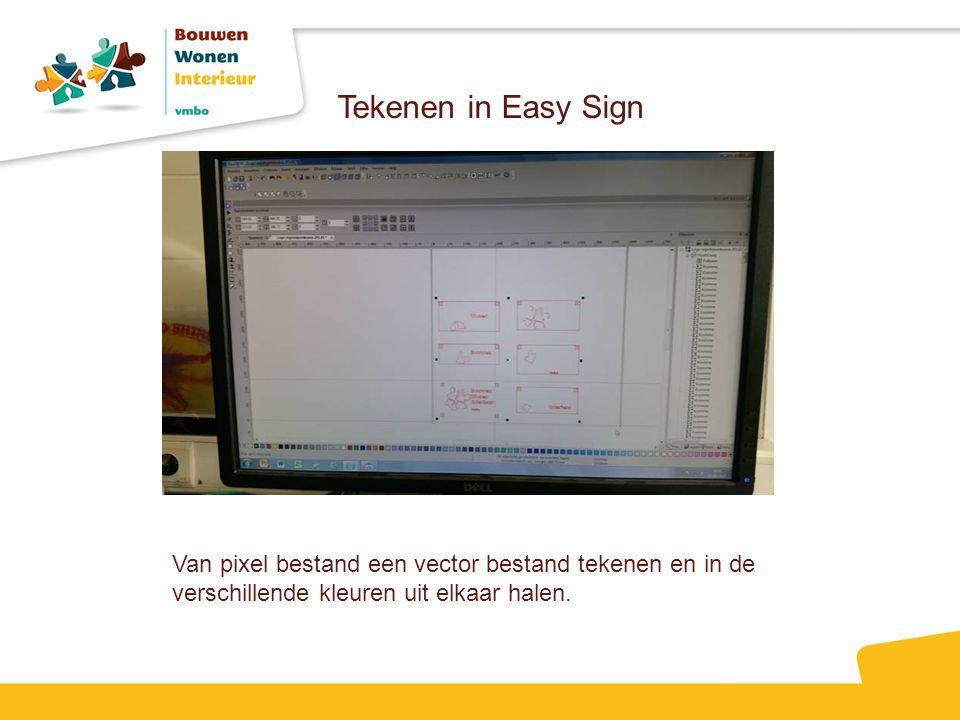 Tekenen in Easy Sign Van pixel bestand een vector bestand tekenen en in de verschillende kleuren uit elkaar halen.
