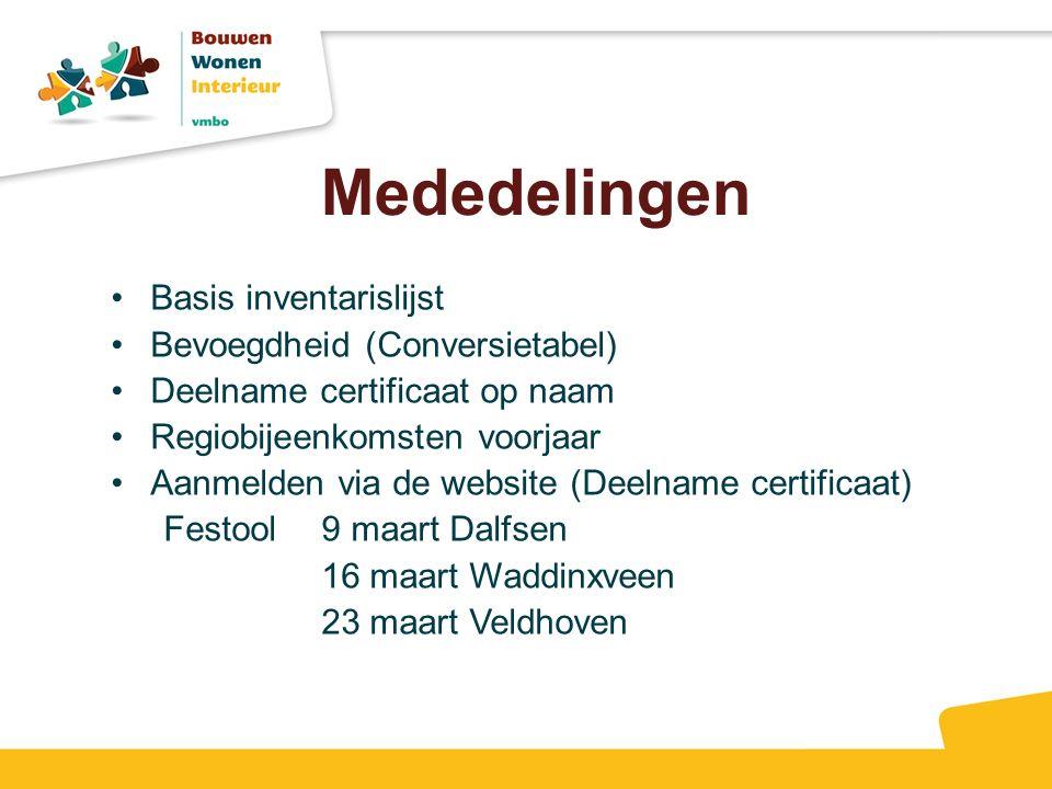 Mededelingen Basis inventarislijst Bevoegdheid (Conversietabel)