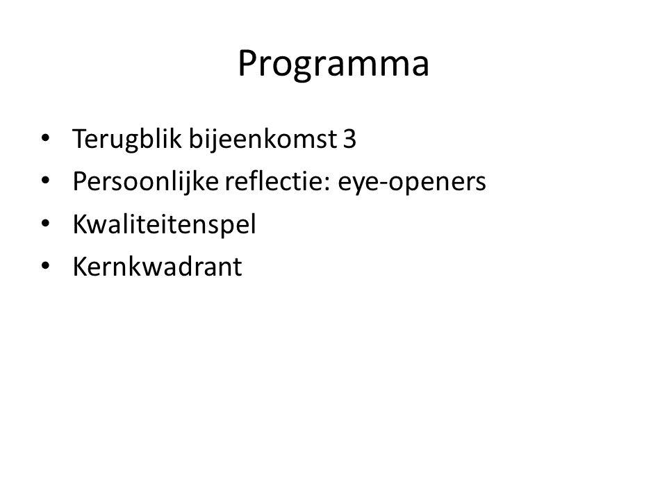 Programma Terugblik bijeenkomst 3 Persoonlijke reflectie: eye-openers