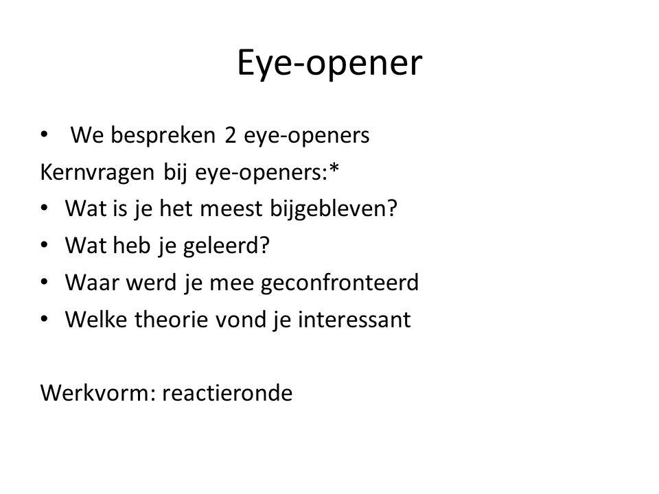 Eye-opener We bespreken 2 eye-openers Kernvragen bij eye-openers:*