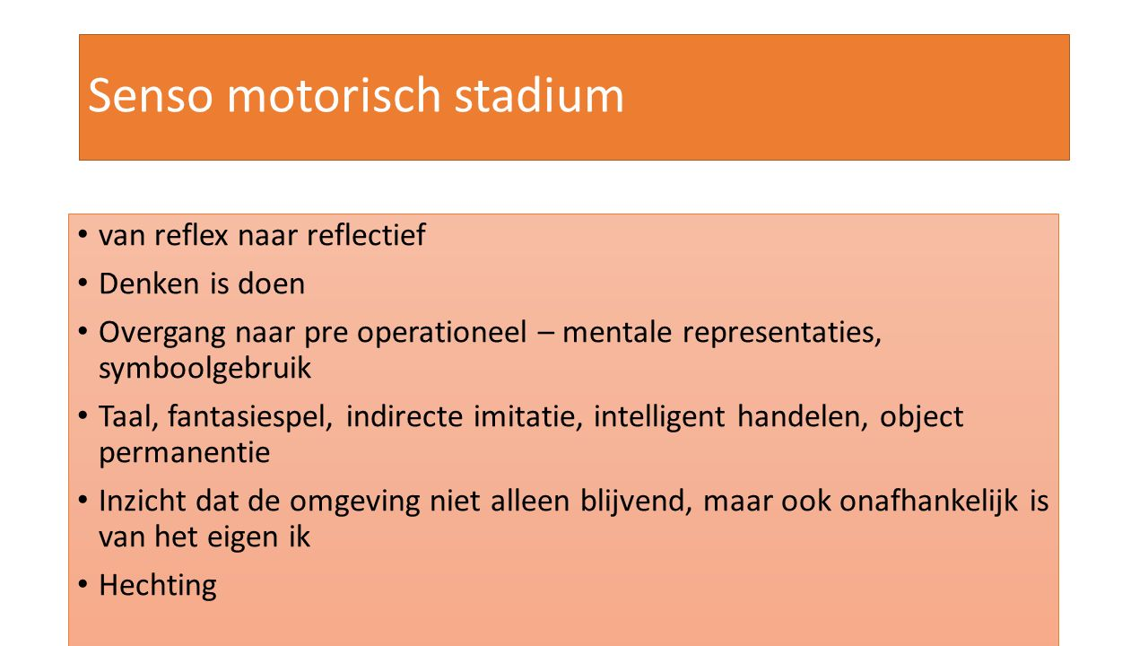 Senso motorisch stadium