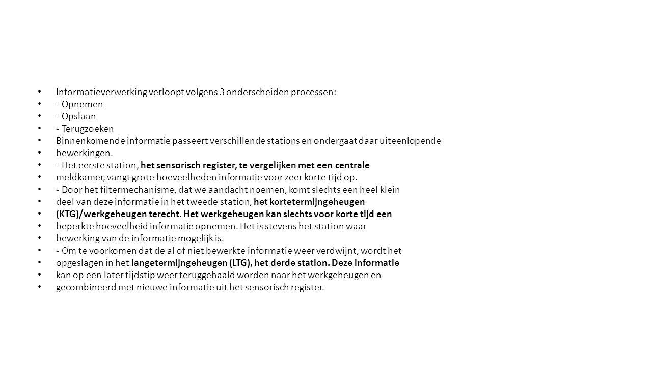 Informatieverwerking verloopt volgens 3 onderscheiden processen: