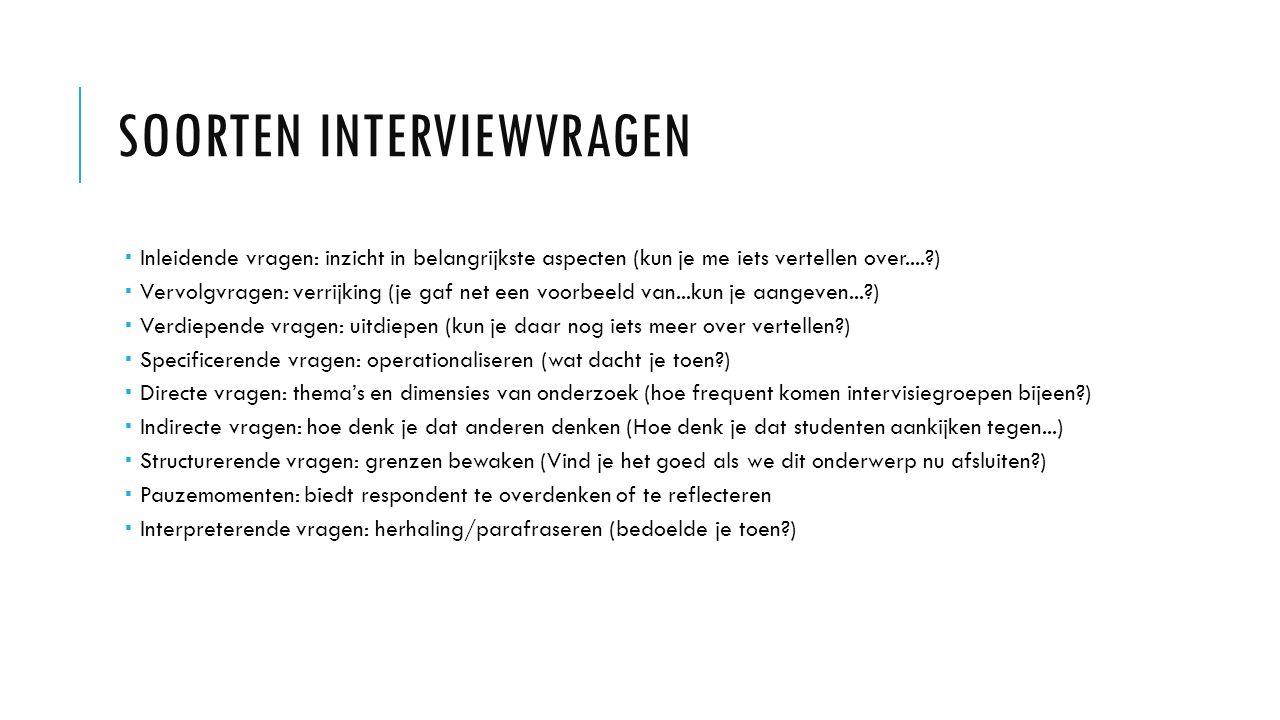 Soorten interviewvragen