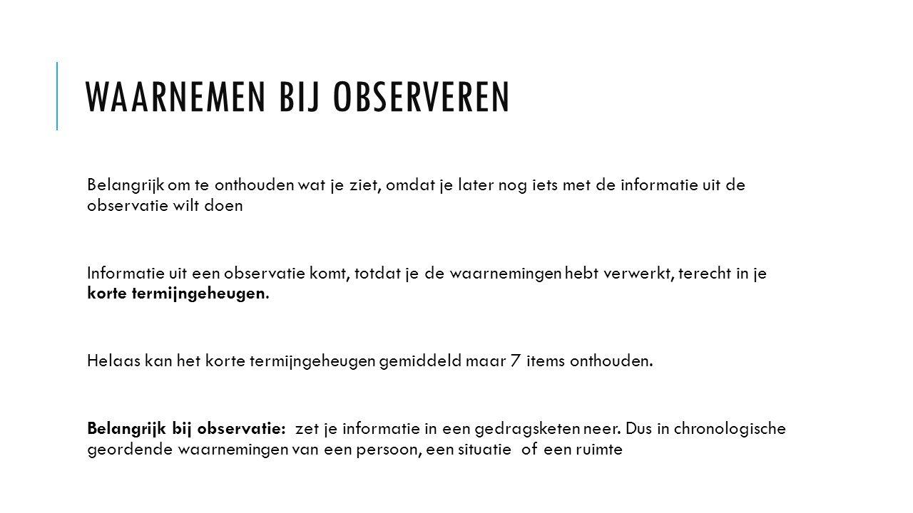 Waarnemen bij observeren