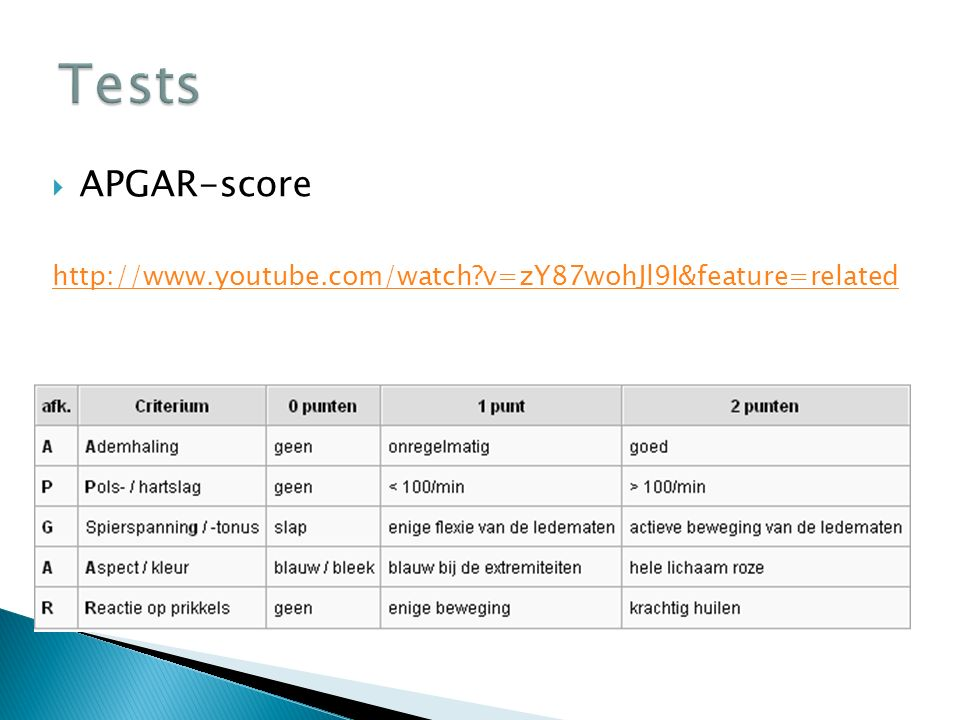 Tests APGAR-score http://www.youtube.com/watch v=zY87wohJl9I&feature=related