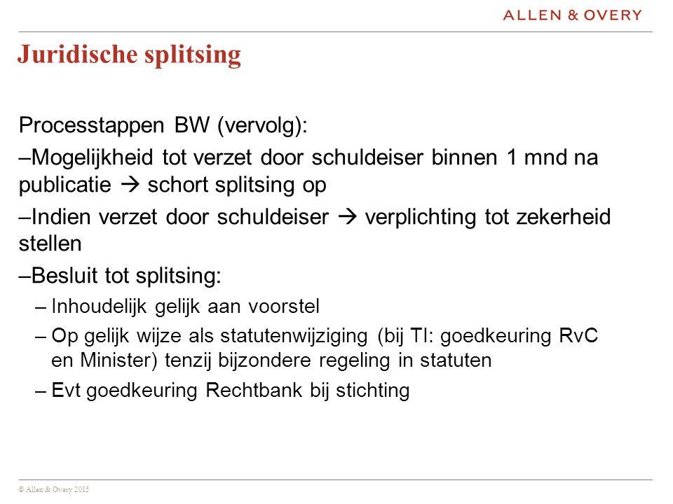 Juridische splitsing Processtappen BW (vervolg):