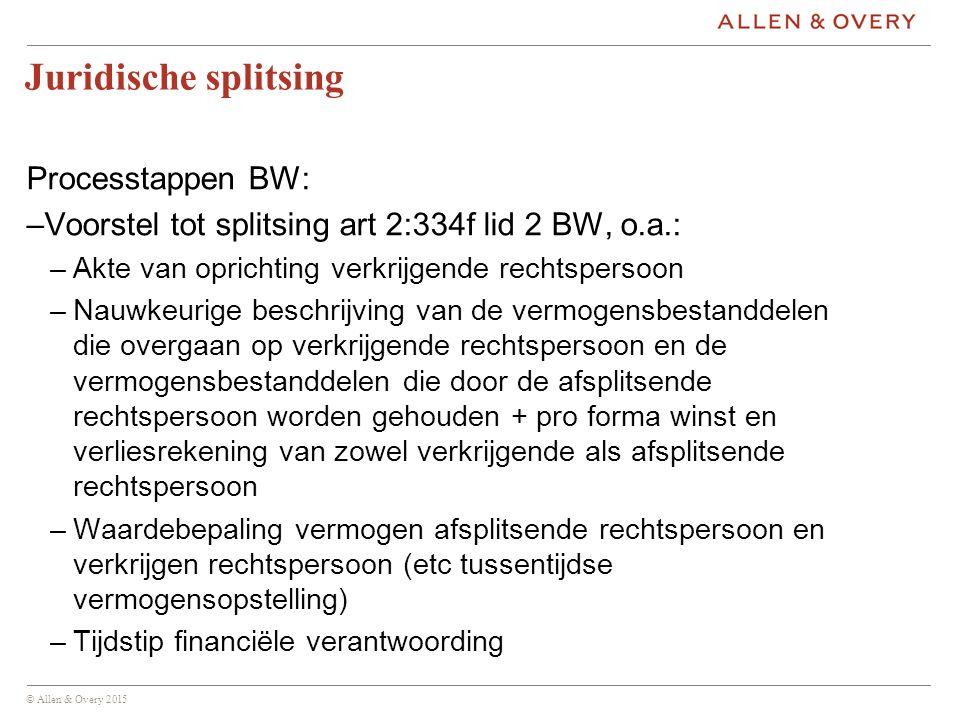 Juridische splitsing Processtappen BW: