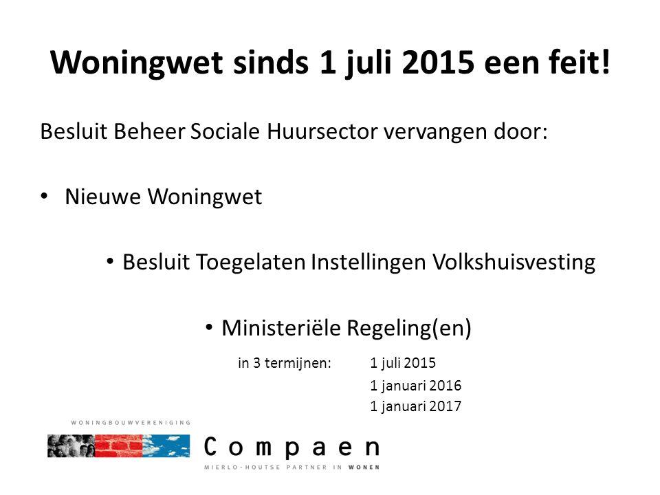 Woningwet sinds 1 juli 2015 een feit!