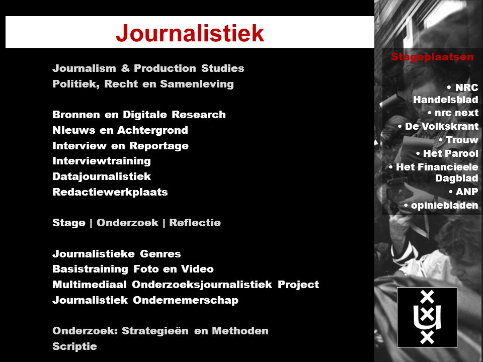 Journalistiek Stageplaatsen Journalism & Production Studies