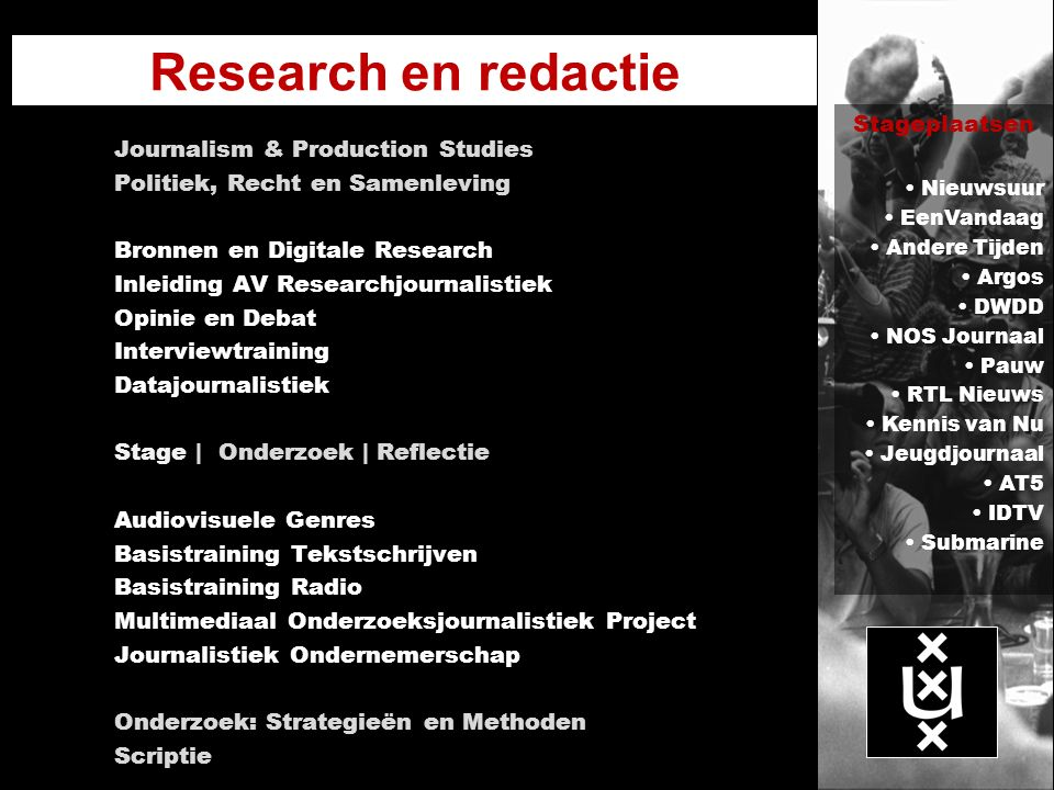 Research en redactie Stageplaatsen Journalism & Production Studies
