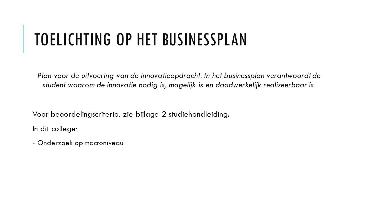 Toelichting op het businessplan