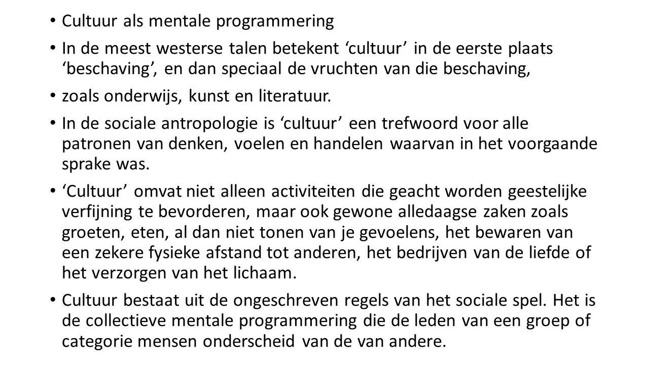 Cultuur als mentale programmering