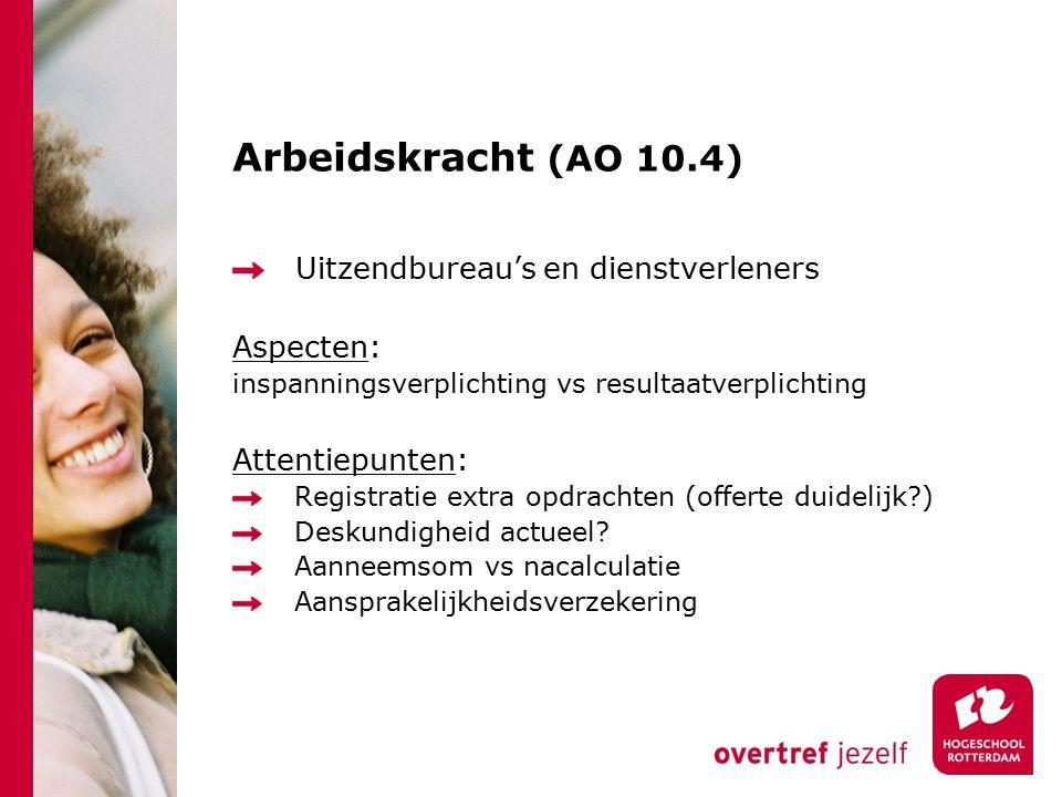Arbeidskracht (AO 10.4) Uitzendbureau's en dienstverleners Aspecten: