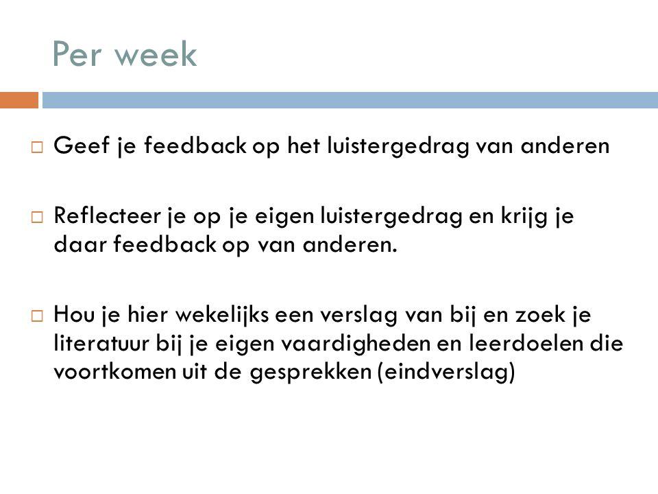 Per week Geef je feedback op het luistergedrag van anderen
