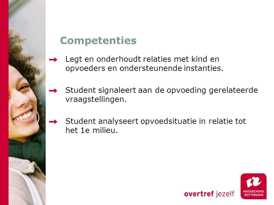 Competenties Legt en onderhoudt relaties met kind en opvoeders en ondersteunende instanties.