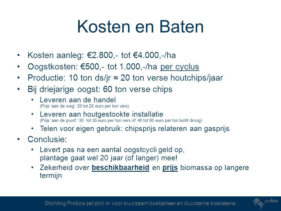 Kosten en Baten Kosten aanleg: €2.800,- tot €4.000,-/ha