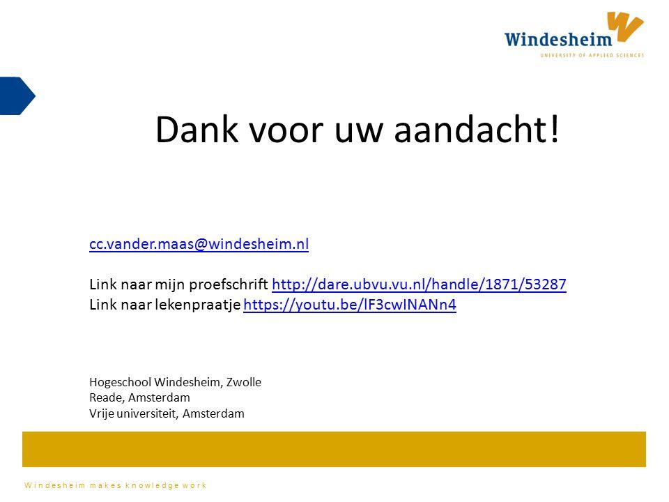 Dank voor uw aandacht! cc.vander.maas@windesheim.nl