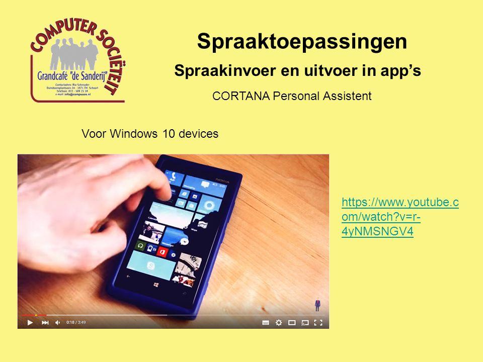 Spraaktoepassingen Spraakinvoer en uitvoer in app's