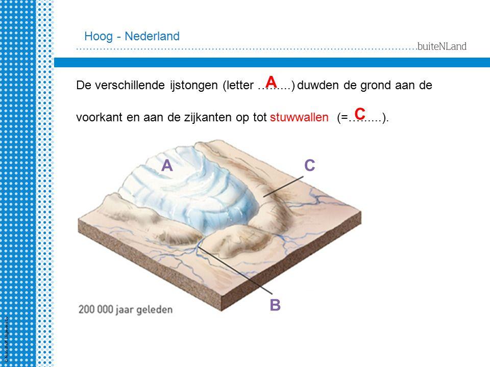 Hoog - Nederland A. De verschillende ijstongen (letter …......) duwden de grond aan de. voorkant en aan de zijkanten op tot stuwwallen (=…......).