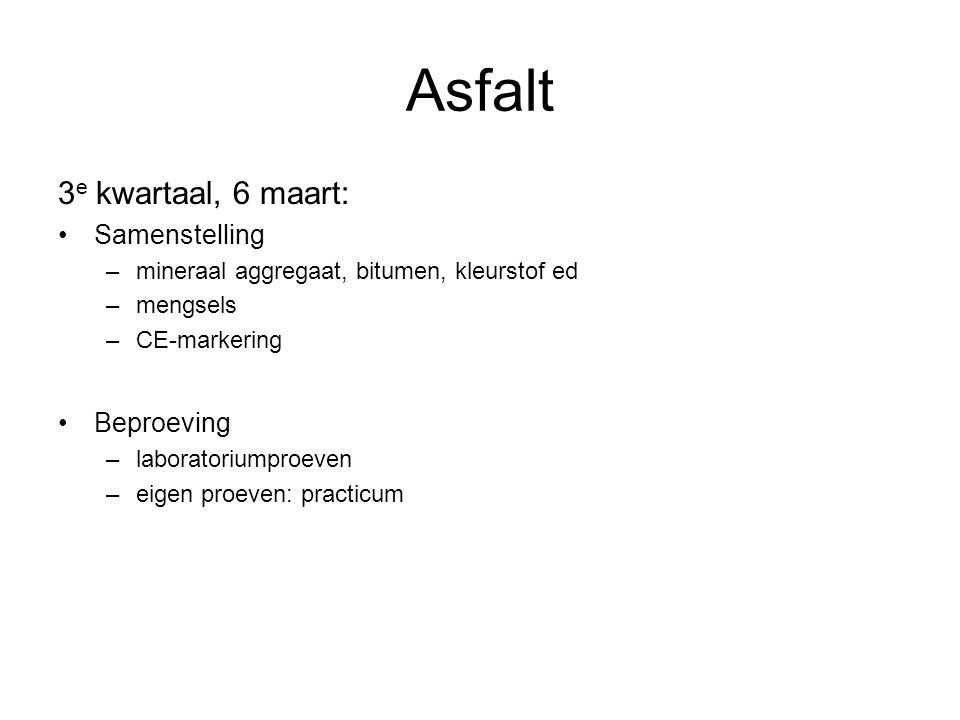 Asfalt 3e kwartaal, 6 maart: Samenstelling Beproeving
